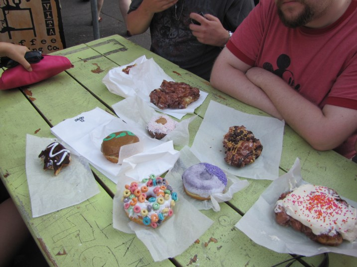 Lots and lots of Voodoo Donuts. Don't judge us. There were five mouths to feed.