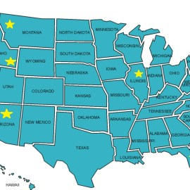 A map of my US progress so far. Not nearly as impressive when I look at it on a map.