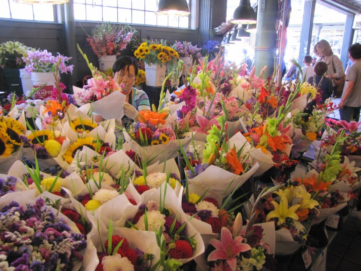 A flower display at Pike's Place Market. Thrilling.