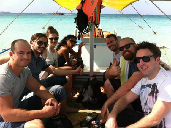The gang (+2 extras) island hopping in Boracay