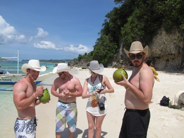Just chilling with cowboy hats and coconuts.