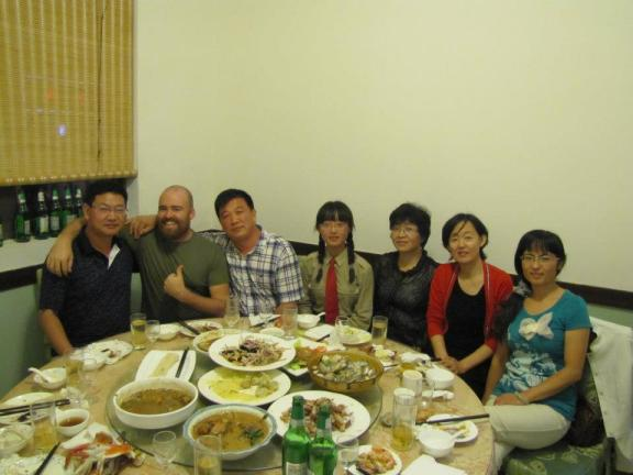 An ex-student's family treats us to seafood and entirely too much baiju when visiting Lianyungang.