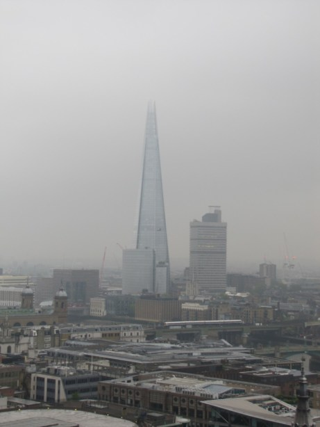 A (very foggy) view of the Shard from the top of St. Paul's Cathedral.