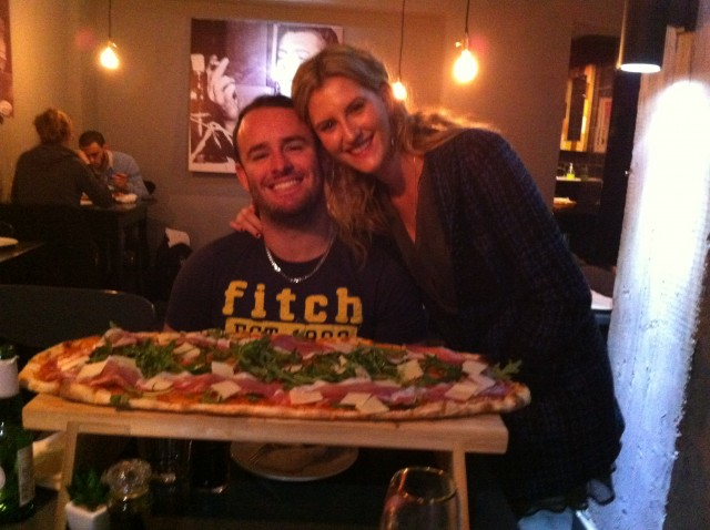 The large pizza at Bellini's certainly lives up to its name.