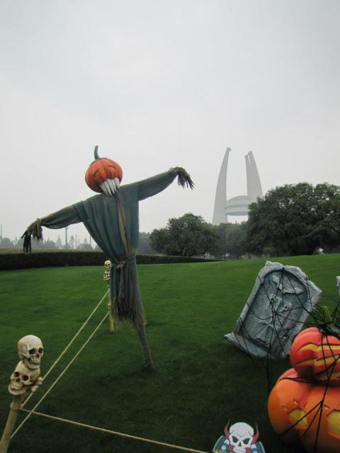 The park was decorated for the occasion with pumpkins, ghosts, and even scarecrows.