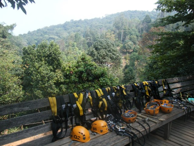 The helmets and harnesses all ready to go before our day at Jungle Flight.