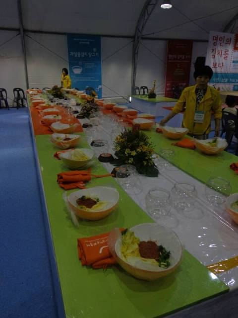 The kimchi prep station before the foreigners descended on it and made a mess.