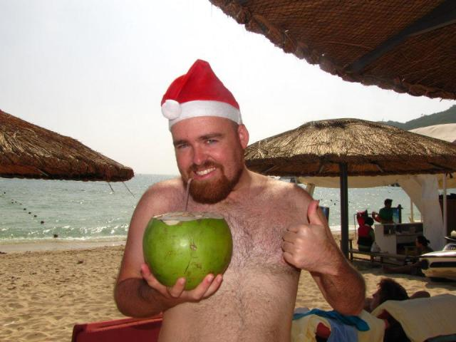 Celebrating Christmas on the beach in Hainan, China.