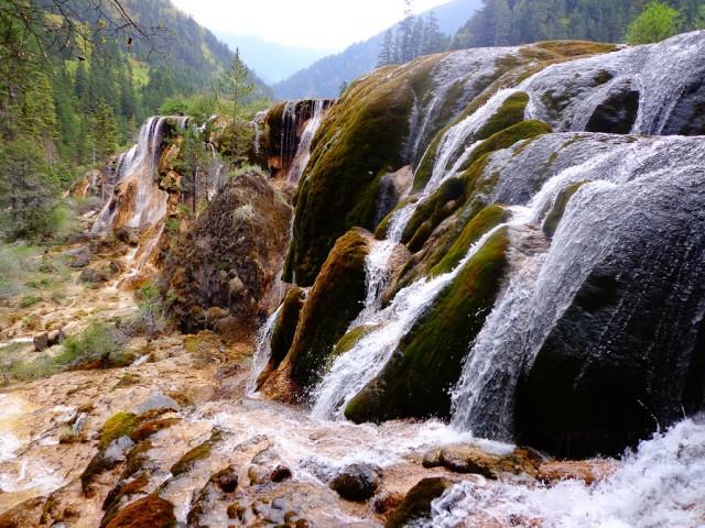 The Pearl Shoal Falls in Jiuzhaigou National Park, Sichuan.