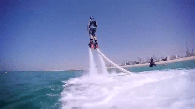 I try my hand at flyboarding.