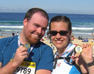 Triumphant after finishing the 2010 City 2 Surf in Sydney.