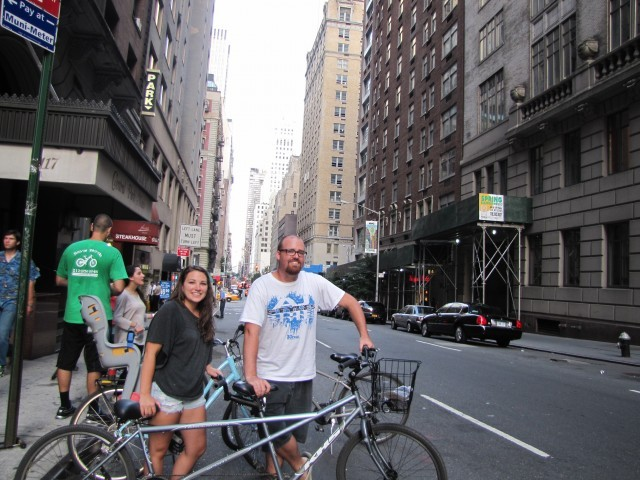 Nomadic American and I preparing to explore Central Park on a tandem bike.