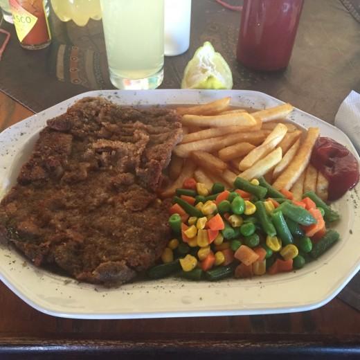 A different kudu schnitzel eaten at a roadside bakery halfway between Windhoek and Etosha.