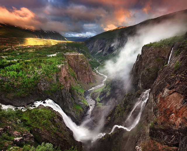 voringfossen waterfall norway