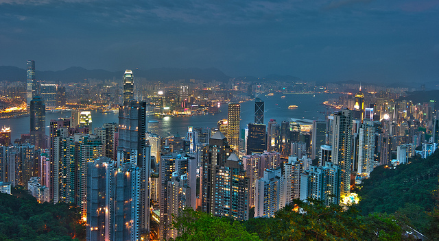 Victoria Peak hong kong skyline night