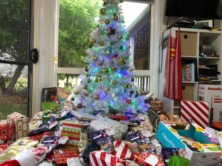 christmas tree with lots of presents
