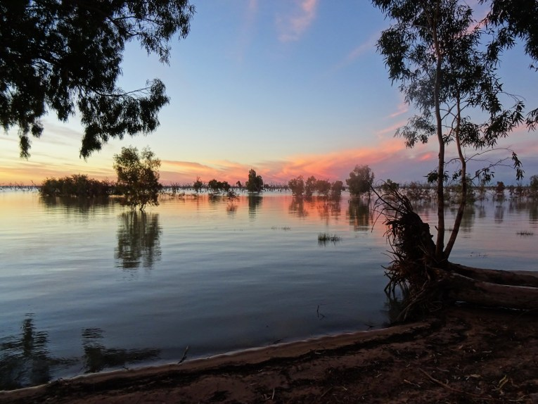 lake menindee childhood vacation sunset