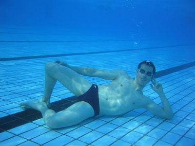 Underwater speedo guy.