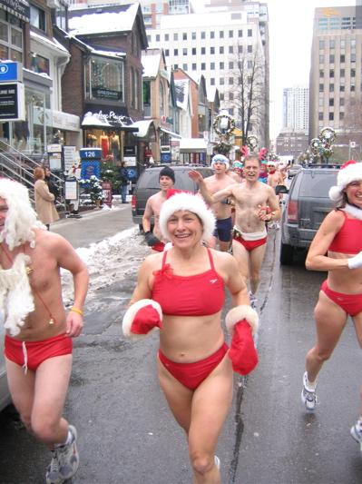 Red speedos on the Toronto Santa Speedo Run