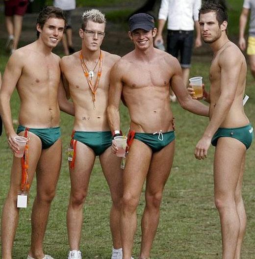Green Speedos - Guys wearing speedos