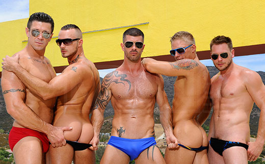 Groups of guys in speedos