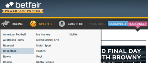 Betfair navigation panel