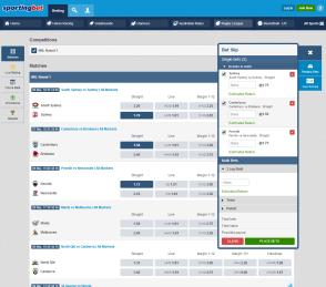 Sportingbet betting interface
