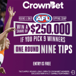 CrownBet AFL Round 1 Tipping Comp – win a share of $250,000 if you pick all 9 winners