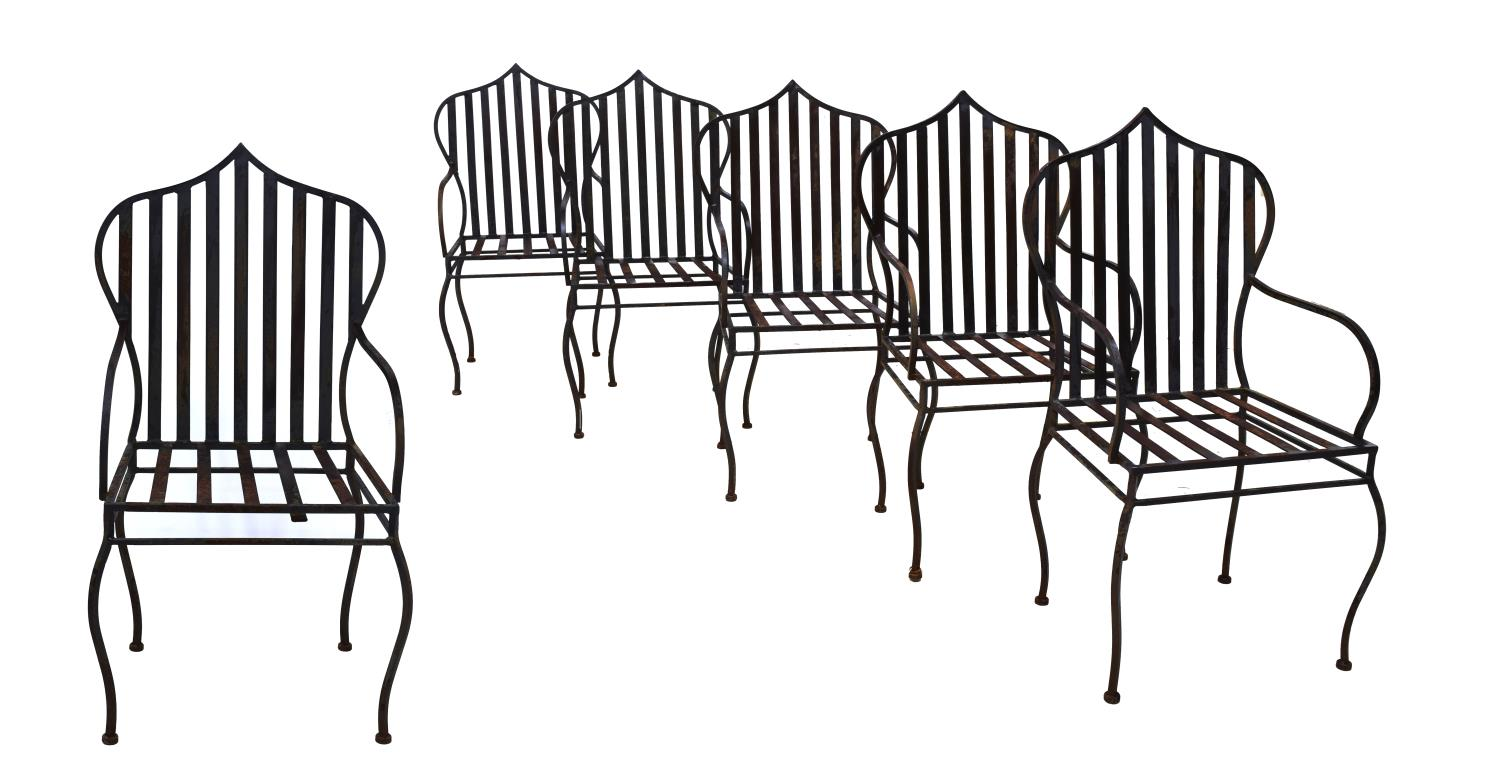 6 wrought iron patio arm chairs