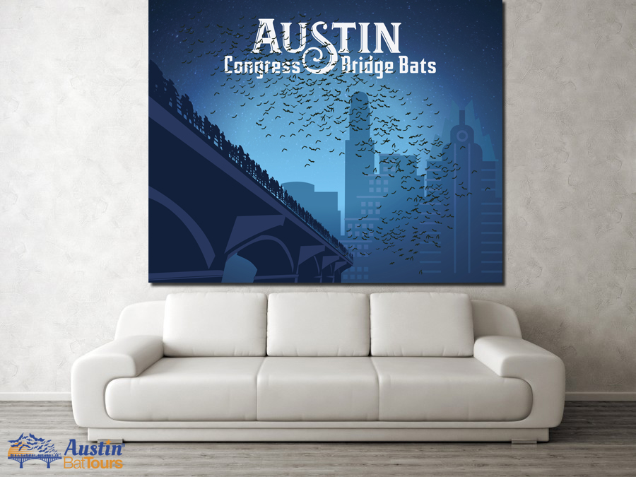 austin bat tours congress bridge poster blue