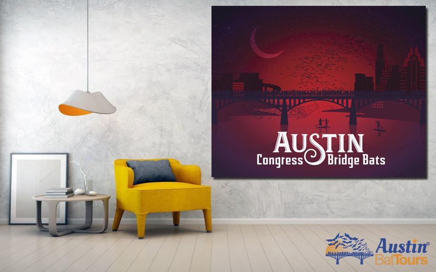 Austin Bat Tours new poster art series, Congress Bridge Poster in red