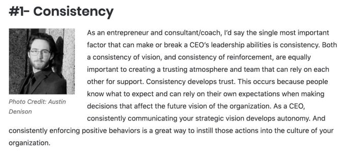 Consistency is the key to good leadership.