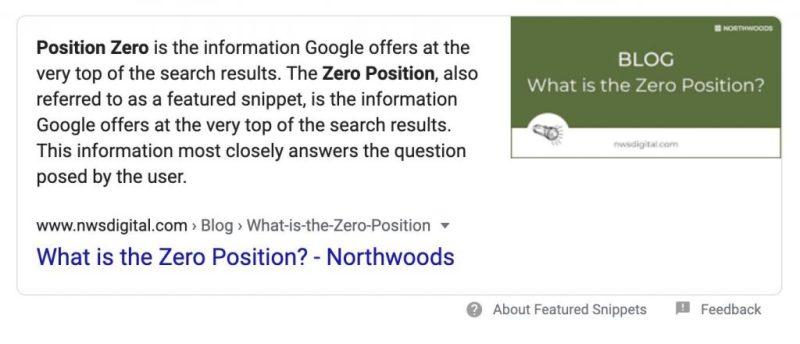 SEO zero-position ranking example.