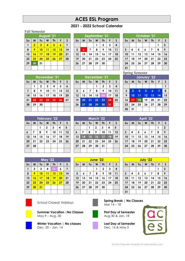 Uh Academic Calendar Fall 2022.School Calendar Aces Esl School