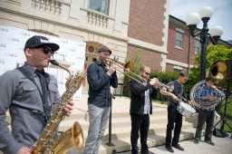 The Low Down Brass Band performs for attendees last Thursday during a special kick-off event for Cara at the Austin Town Hall Park in Chicago's Austin neighborhood. | ALEXA ROGALS/Staff Photographer