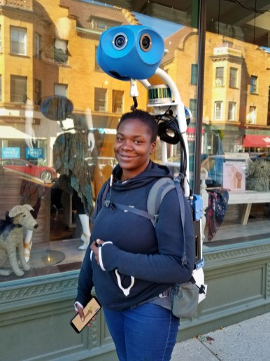 NICE GIG: Erin Bender is making 7.50 an hour collecting video for Google Street View Trekker. | TIMOTHY INKLEBARGER/Staff