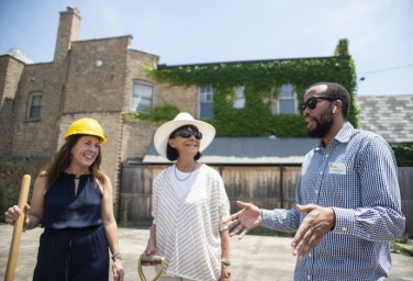 New on North: Developer Sharon Heilala (left) and Judith Alexander and Christian Harris, both of the North Avenue District, attend a groundbreaking for the new Jade Sky apartment development on North Avenue. | ALEXA ROGALS/Staff Photographer