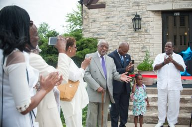 """NEW HOME: Congressman Danny K. Davis, fourth from left, state Rep. Emanuel """"Chris"""" Welch and Rev. Myron Austin attend Sunday's ribbon-cutting for Rose of Sharon Community Church, which moved into its permanent home in Maywood on July 7. 