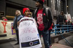 Students march with teachers and supporters on Thursday, Oct. 17, during a Chicago Teachers Union rally in the Chicago Loop. | ALEX ROGALS/Staff Photographer