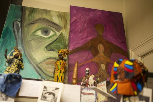 Artwork from the artists-in-residence are seen throughout the room on Nov. 15, during an open art theater for the West Side Cultural Arts Council at the Garfield Park Gold Dome in Chicago. | ALEX ROGALS/Staff Photographer