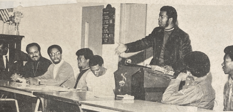 ENEMY OF THE STATE: Top, Hampton speaks at First Baptist Church in Melrose Park in October 1969, the last public speech he would give in the community area where he came of age. | Newspapers.com
