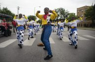 Performers dance on Aug. 17, during the 40th Annual Danny Davis Back to School Parade, held along Central Avenue in Austin. | Photo by ALEX ROGALS/Staff Photographer