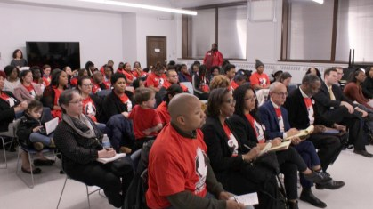 CLOSE TO CLOSING: Parents, teachers and students wore their red Frazier T-shirts in support of their beloved school. | PASCAL SABINO/Block Club Chicago