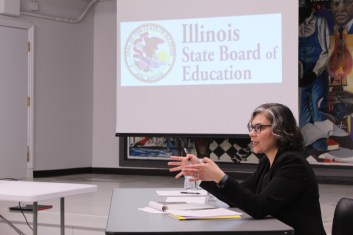 Hearing Officer Beatriz Diaz-Pollack oversees a meeting on the fate of Frazier Charter School. | PASCAL SABINO/Block Club Chicago