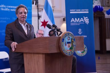 Mayor Lightfoot speaks at the Feb. 26 press conference in Austin. | PASCAL SABINO/Block Club Chicago