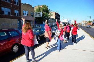 Walking the line: Austin school teachers were amongst those hitting the picket lines in September after their union leaders agreed to strike. The conflict lasted eight days. The union and Chicago Board of Education reached a deal on a new contract.