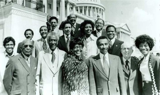 Standing Tall: Collins (front center) with the Congressional Black Caucus members in 1977.Courtesy www.history.house.gov