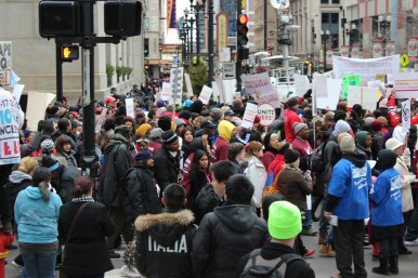 Daley Plaza was the site of the March 27 march and rally. Protestors later headed to CPS headquarters on Clark Street.Photos by AustinTalks