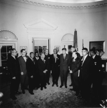 President Kennedy meets with leaders of March on Washington.