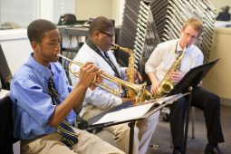 Eighth-grade students practice jazz with their instructor in CJA's new music and multi-purpose classrooms. (Photo by Diane M. Smutny/DMS Photography)